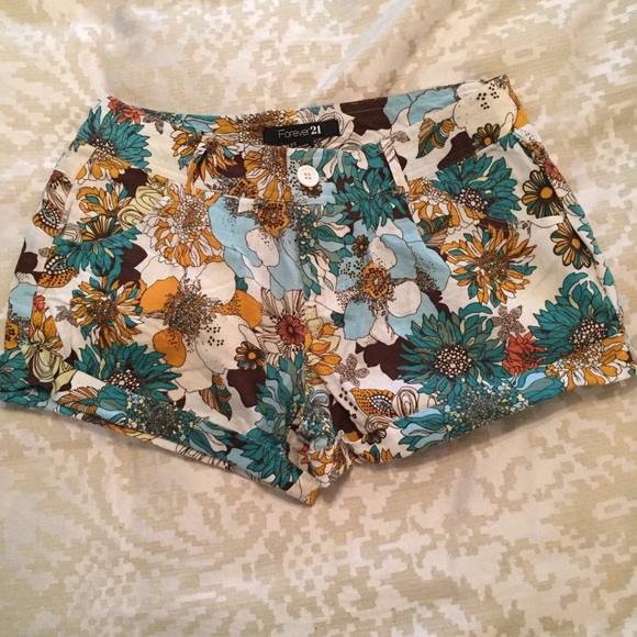 Forever 21 Pants - F21 Turquoise Floral Linen Shorts